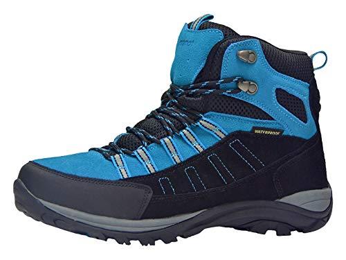Riemot Scarpe da Trekking Donna Uomo Alte Scarponi da Montagna Impermeabili Leggero e Traspiranti Scarponcini da Escursionismo Passeggio Arrampicata Sportiva All'aperto Nero/Blu 43 EU