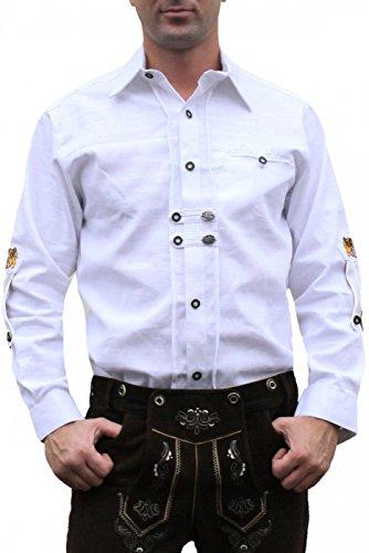 Trachtenhemd für Trachten Lederhosen Oktoberfest Trachtenmode wiesn weiß, Hemdgröße:2XL
