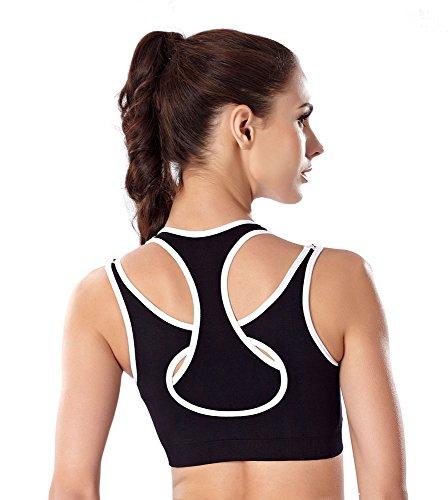 Wirarpa Femme Soutien-gorge de Sport Femme Brassière Sport Gym Running Yoga Danse Sports Bras Noir