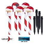 Lunartec Weihnachtsdeko aussen: Solar-LED-Gartenstecker Weihnachtsmann, IP44, im 5er-Set (LED Zuckerstangen)