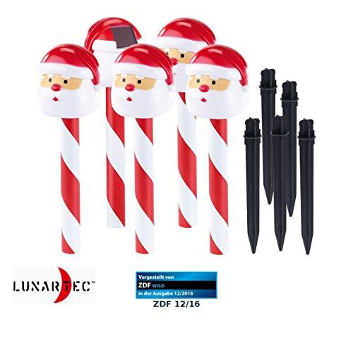 Lunartec LED Zuckerstangen: Solar-LED-Gartenstecker Weihnachtsmann, IP44, im 5er-Set (Weihnachtsbeleuchtung Solar)