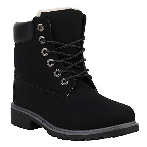 Stiefelparadies Unisex Worker Boots Herren Damen Stiefeletten Warm Gefütterte Stiefel Zipper Outdoor Schuhe Camouflage Booties Übergrößen Flandell Schwarz Brooklyn