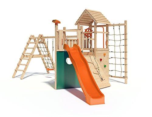 Kon Tiki Neo Spielturm Kletterturm Baumhaus mit Schaukel, Rutsche, kletternetz, Rutschstange uvm. (erweiterter Schaukelanbau)