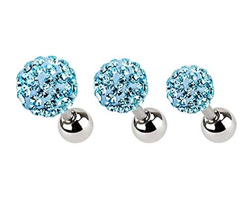 KULTPIERCING - 3er Set - Helix Tragus Piercing Stecker Ohr Ferido Kristalle Multicolor 3-5 mm - Aqua