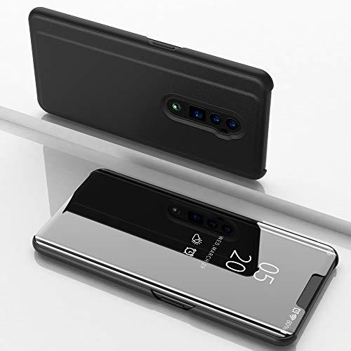 SWMGO® Spiegel Überzug Flip Hülle für Oppo Reno 10x Zoom (Schwarz)