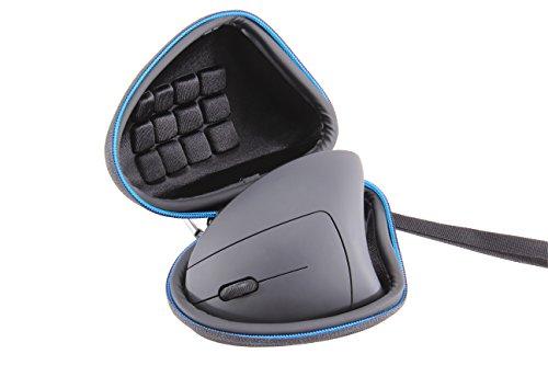 Supremery Tasche für CSL Maus - Anker 2.4G Wireless Maus Case Schutz-Hülle Etui Tragetasche mit Handschlaufe und Karabinerhaken - Wasserabweisend in Schwarz-Blau