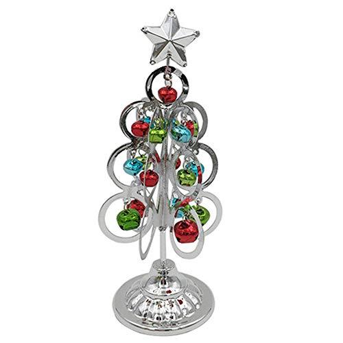 BESSKY Mini Desktop Iron Christmas Tree Home Office Decoration Gift Ornaments Creative Schmiedeeiserne Glocken, Weihnachtsbaum, Minibaum, Silber -