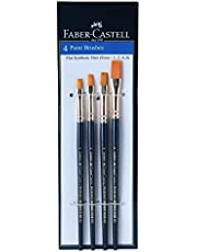 Faber-Castell Synthetic Hair Flat Assorted Paint Brush, Set of 4