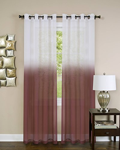 Essential Home Ombre Sheer Window Curtain Panel (52 x 63) - Burgundy by naturally home (Ombre Sheer Panel)