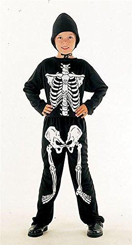 Skelett Halloween Kostüm für Kinder - Leuchtet unter Schwarzlicht - Schwarz/Weiß - Gr. M (128, 5-7 (Skelett Kostüme Kleinkind)