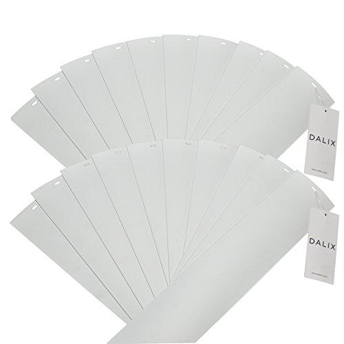 dalix PVC Vertikale Ersatz-Lamellen Gebogene Glatte Ivory Elfenbein Weiß Creme (94,5Länge), Vinyl, weiß, 94.5 - Jalousie Weiss Vinyl