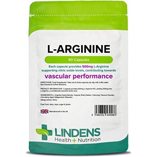 Lindens L-Arginine 500mg Capsules – 90 Pack – an Amino Acid Supplement in an Easy to Swallow,...
