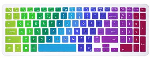 Elastische Silikon Tastatur Cover Skin für 39,6cm Dell Inspiron 153000& 5000Serie, 43,9cm Dell Inspiron 175000Serie, Inspiron 15i3541i5566, Inspiron 17i5749Series Laptop Regenbogenfarben