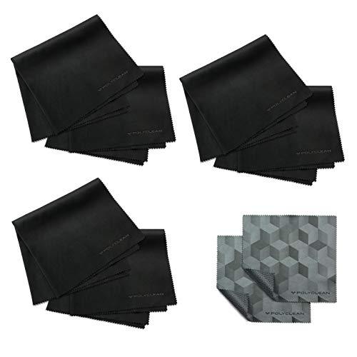 POLYCLEAN 6X Brillen-Putztuch aus Mikrofaser + 2X Gratis Ultratuch - Reinigungstuch für Tablet, Laptop, Smartphone & co. - Schutztuch für Display und Tastatur (35 x 35 cm, Schwarz) - 30 X Tabs