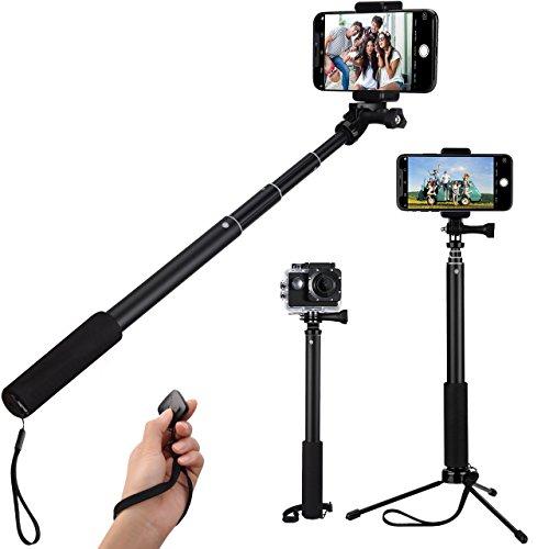 Mpow Perche Selfie Bluetooth sans Fil Selfie Stick Gopro Trépied Flexible Extensible Bâton Selfie avec Télécommande Monopode Professionnel pour iPhoneSeries, Android Smartphones, Gopro Caméra