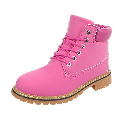 Schnürstiefeletten Damen-Schuhe Klassischer Stiefel Blockabsatz Schnürer Schnürsenkel Ital-Design Stiefeletten Pink, Gr 39, A-69-