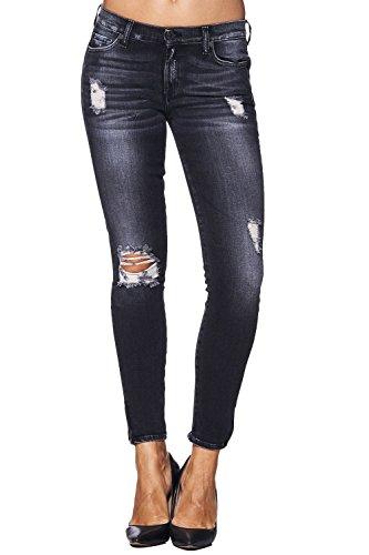 7 for all Mankind Jeans SKINNY CROP After Dark Destroyed - Schwarz [W27] Dark Denim Crop