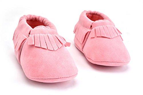 Baby Wildleder Quaste Schuhe Unisex Kleinkind Weichsohle Mokassins Krippe Anti-Rutsch Prewalker Turnschuhe -Mystyles Rosa