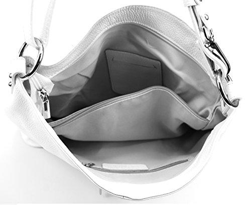 OH MY BAG Sac à Main femme en CUIR italien porté main et épaule Modèle So Chic Nouvelle collection Blanc