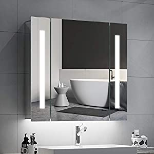 Quavikey Bathroom Mirror Cabinets LED Illuminated Mirrored Bathroom Cabinets Wall Mounted With Light Shaver Socket Demister For Makeup Cosmetic Shaver Charging 650 x 600mm
