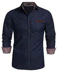 Burlady Herren Jeanshemden Hemden Kentkragen Jeansoptik Langarm Freizeit Cowboy
