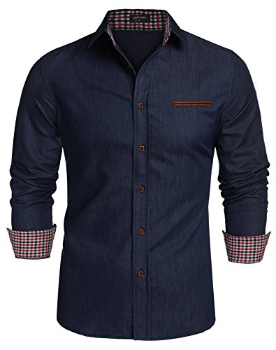 Coofandy Jeanshemden Herren regular fit Denim Shirt Langarmhemd Cowboy-Style Freizeit Hemden , Farbe - Ultramarin , Gr. M (Denim-shirts Für Männer)