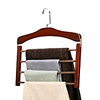 OLI Pants rack, solid wood multi-layer pants rack, Hanger Stand,wooden trousers hanging, household pants storage shelf, multi-function scarves scarf hanger