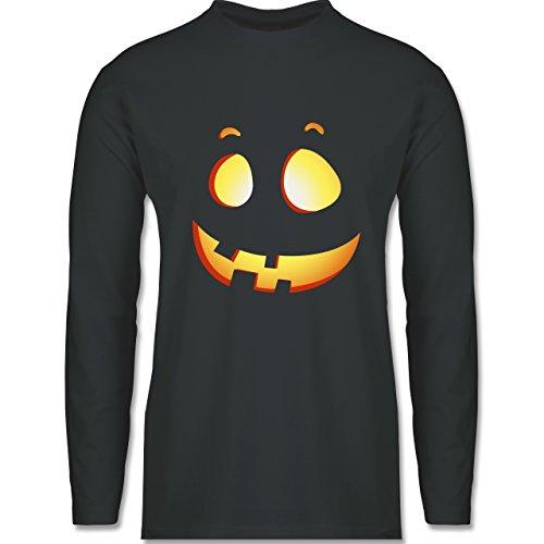 Shirtracer Halloween - Süßer Halloween-Kuerbis Kinder - Herren Langarmshirt Dunkelgrau