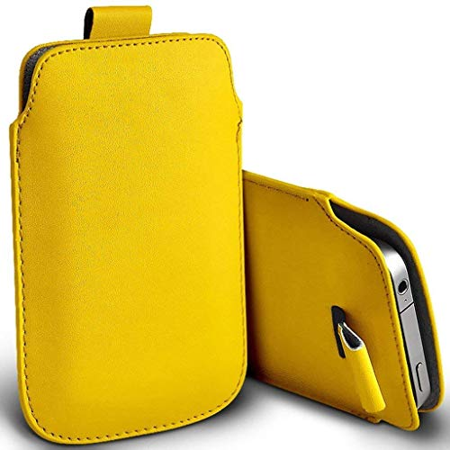 Price comparison product image I-Sonite (Yellow) Premium Slip In Pull Tab Sleeve Faux Leather Pouch Case Cover For Nokia 8110 4G [XL]