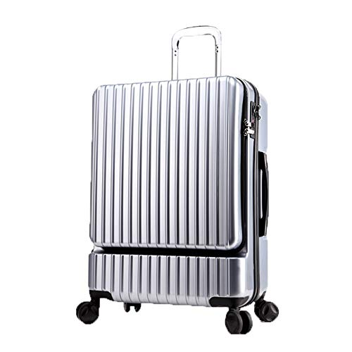 ADEMI Reisetrolley Koffer Mit 4 R?dern,Leichtgewicht Hartschalenkoffer Reisetrolley Carry,Silver-24Inch