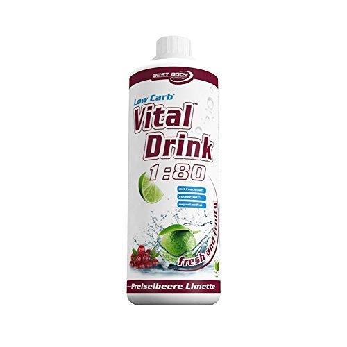 Best Body Nutrition Low Carb Vital Drink, Preiselbeer-Limette, 1000 ml