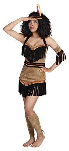 Luxuspiraten Damen Fashion Indianer Minikleid mit Fansen und V-Ausschnit, L/XL, Braun