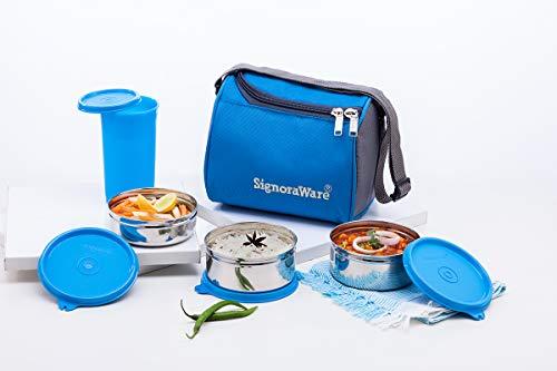 Signoraware Best Steel Lunch Box Set of 4 (350ml+350ml+200ml) , Blue