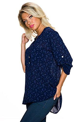 Fashion Damen Bluse Hemd Hemdbluse Tunika mit kleinen Blümchen | Mille fleur Muster Turn-up Ärmel Blau
