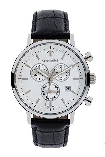Gigandet Classico Herren-Armbanduhr Chronograph Quarz Analog Lederarmband schwarz G6-001