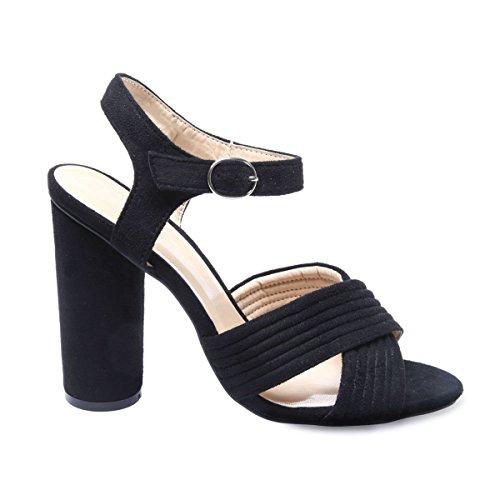 La Modeuse - Sandales à plateforme en suédine Noir