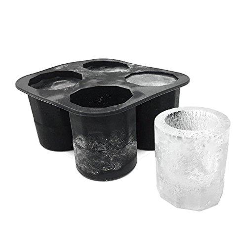 Yasmeen Eiswürfel Tablett Backform vor Maßnahme Backform von Eis Neuheit Geschenke Tablett-Becher Eis Sommer Werkzeug für Whisky trinken, Cocktail, Getränke 10*10*5.5cm schwarz