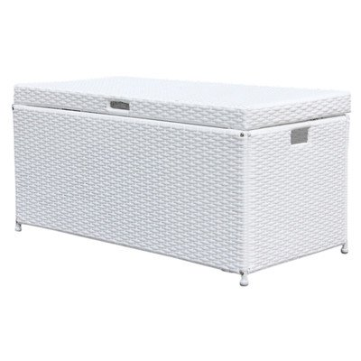 Wicker Lane ORI003-B Outdoor White Wicker Patio Furniture Storage Deck Box