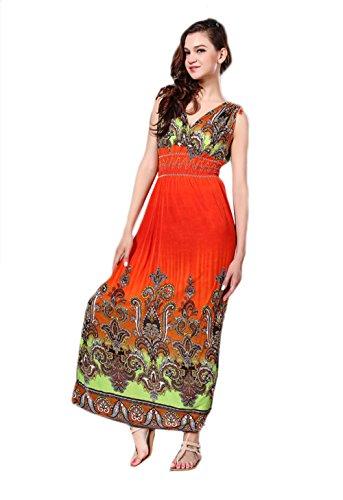 JOTHIN Damen Ärmellose Bedrucktes Boho Strandkleider Für Mollige V-ausschnitt Sexy Lange Kleider Maxi Mit Elastischer Taille Orange