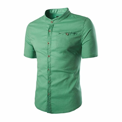 Men's Solid Camisa Masculina Short Sleeve Slim Fit Shirts green asian size