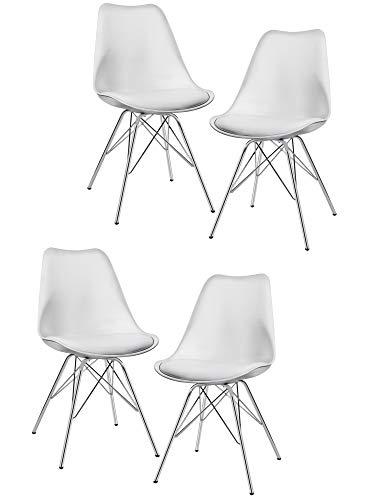Duhome Esszimmerstuhl 4er Set Küchenstuhl Weiß Kunststoff mit Sitzkissen Stuhl Vintage Design Retro Farbauswahl 518J