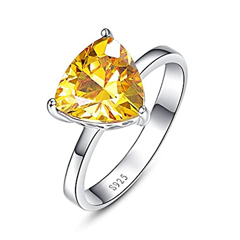 JQUEEN Women's Yellow Citrine Solitaire Style Ring Sterling Silver 6.15 Carats Sizes 6 to 9 Size 7