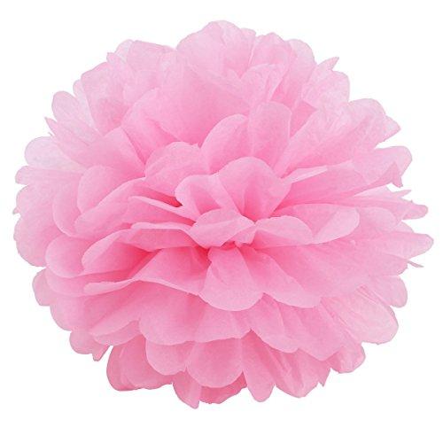 Sungpunet 10Pcs Pink Seidenpapier Blumen Pom Poms für Hochzeit Party Dekoration Laternen Tisch und Wand Decor