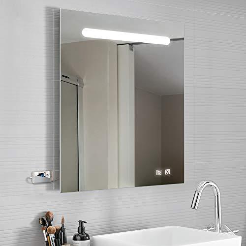 Kalb | Espejo Luna LED 80x70cm + puertos USB + antivaho iluminación integrada para cuarto de baño...