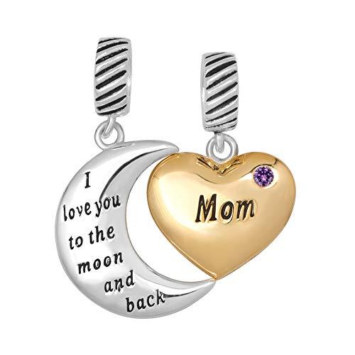 Poetic Charms Herz Ich liebe dich bis zum Mond und zurück Mama Charm 12 Farben Geburtsstein 925 Sterling Silber Bead für Europäische Armband