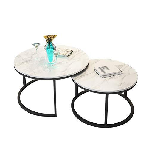 GXFC Moderner runder Couchtisch, Nordic Style Sofa Beistelltisch, Marmor und Metallrahmen, 2-teiliger Beistelltisch, Wohnkultur, Wohnzimmermöbel -