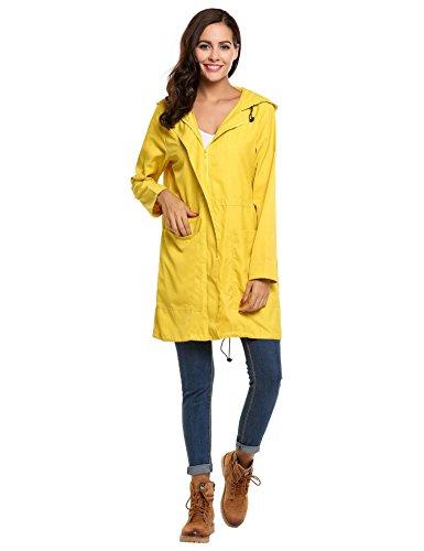Meaneor Chaqueta Impermeable de Lluvia para Mujer Abrigo Ligero al Aire Libre
