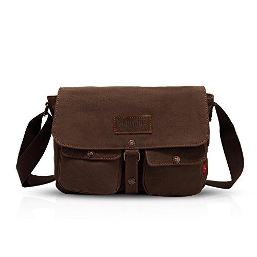 FANDARE Vintage Messenger Bag Borsa a Tracolla Borsa Crossbody Laptop Briefcase Scuola Borsa Zainetto Schoolbag Tela Marrone