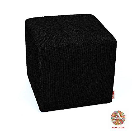 Arketicom Pouf Cubo Poggiapiedi Nero in Poliuretano ad Alta Densita Dimensioni 35x35x35 cm (puf puff pouff pouffe)