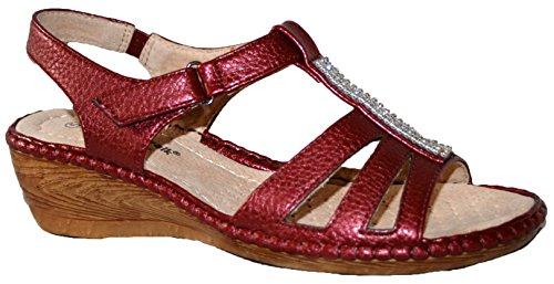 Sandales d'été à talon compensé légères Mesdames wine diamante